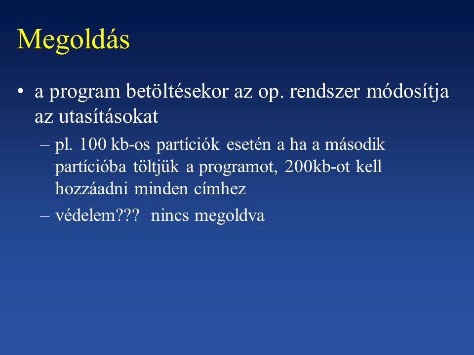 Megoldás a program betöltésekor az op. rendszer módosítja az utasításokat –pl.