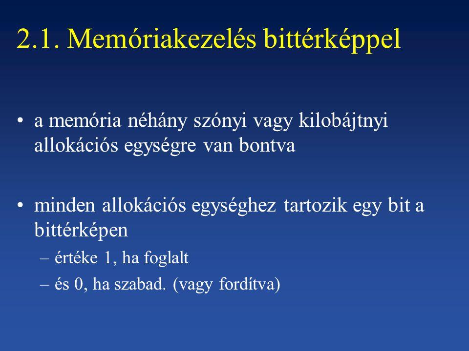 2.1. Memóriakezelés bittérképpel a memória néhány szónyi vagy kilobájtnyi allokációs egységre van bontva minden allokációs egységhez tartozik egy bit
