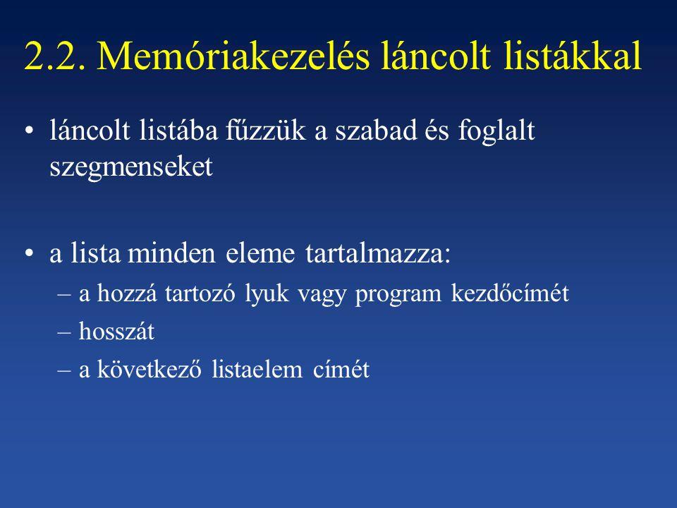 2.2. Memóriakezelés láncolt listákkal láncolt listába fűzzük a szabad és foglalt szegmenseket a lista minden eleme tartalmazza: –a hozzá tartozó lyuk