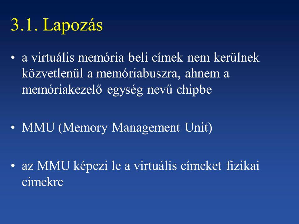 3.1. Lapozás a virtuális memória beli címek nem kerülnek közvetlenül a memóriabuszra, ahnem a memóriakezelő egység nevű chipbe MMU (Memory Management