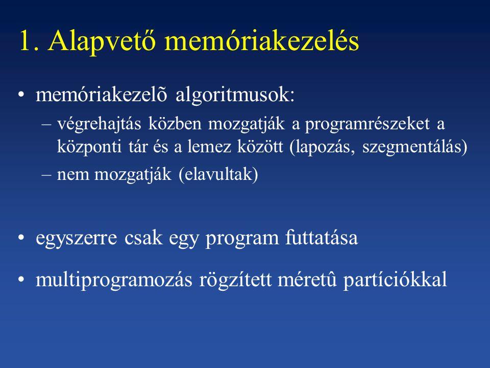 1. Alapvető memóriakezelés memóriakezelõ algoritmusok: –végrehajtás közben mozgatják a programrészeket a központi tár és a lemez között (lapozás, szeg