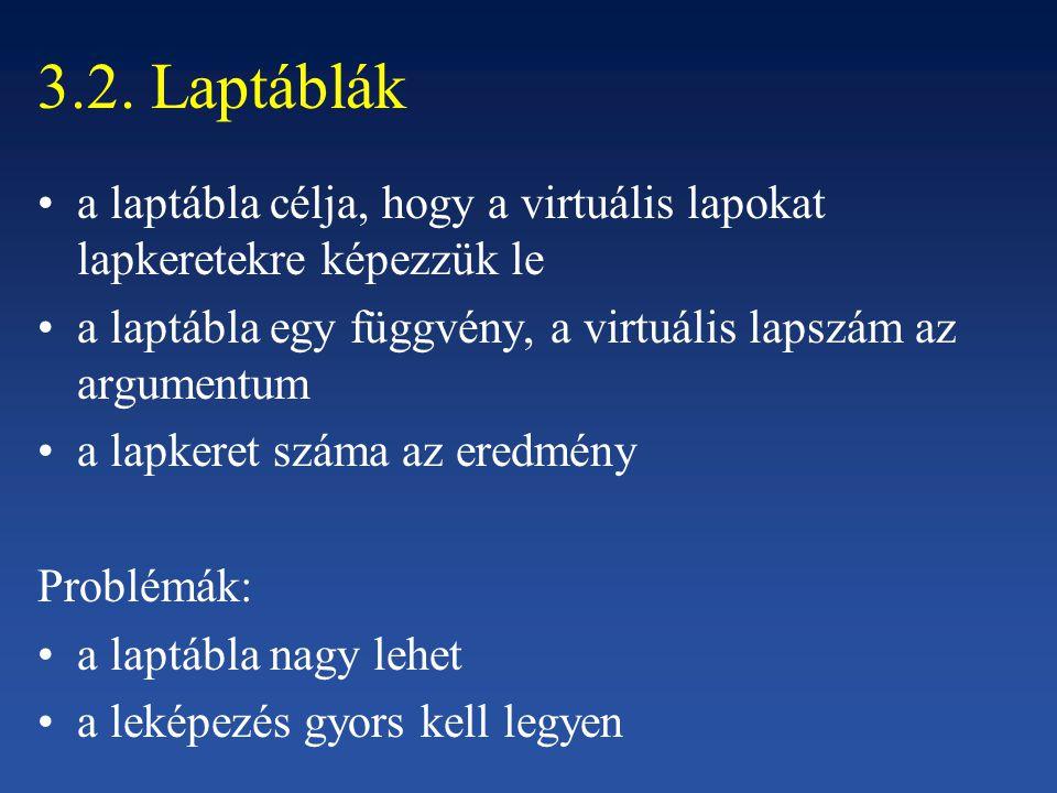 3.2. Laptáblák a laptábla célja, hogy a virtuális lapokat lapkeretekre képezzük le a laptábla egy függvény, a virtuális lapszám az argumentum a lapker