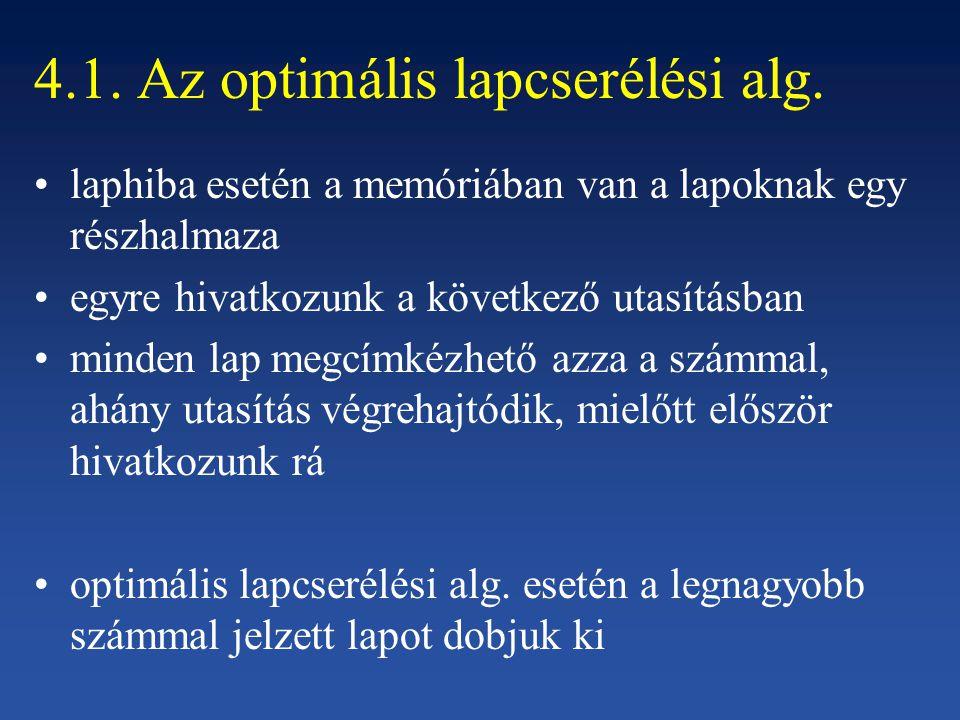 4.1. Az optimális lapcserélési alg.