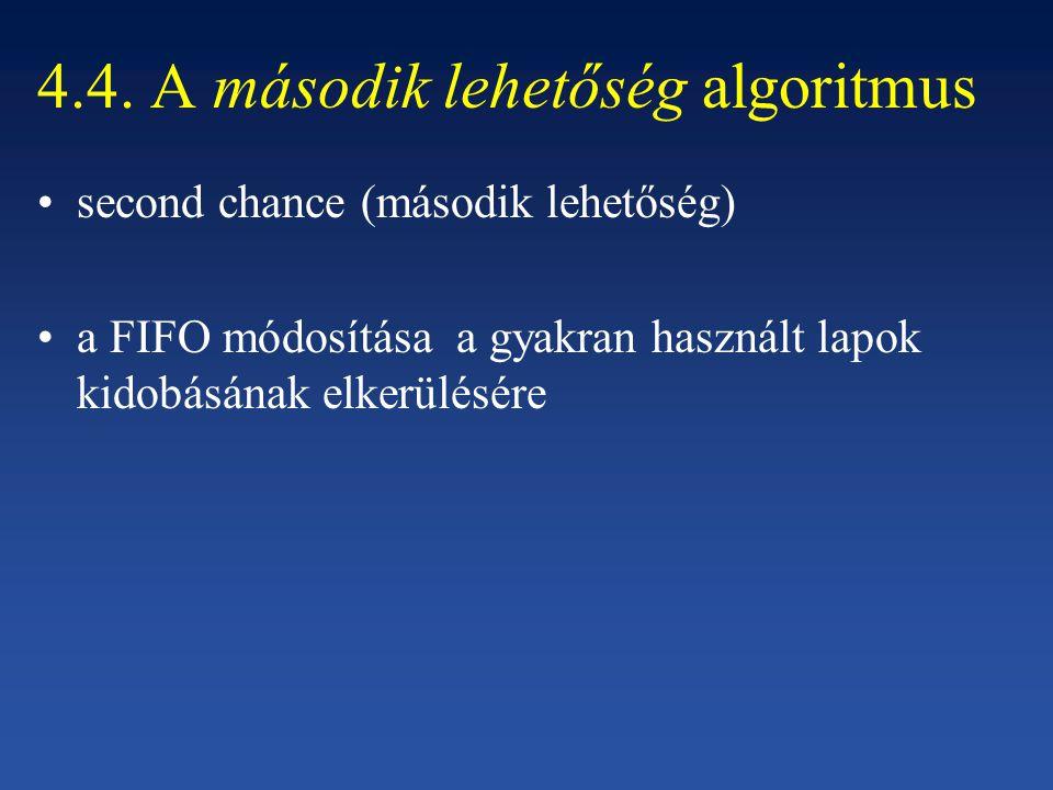 4.4. A második lehetőség algoritmus second chance (második lehetőség) a FIFO módosítása a gyakran használt lapok kidobásának elkerülésére