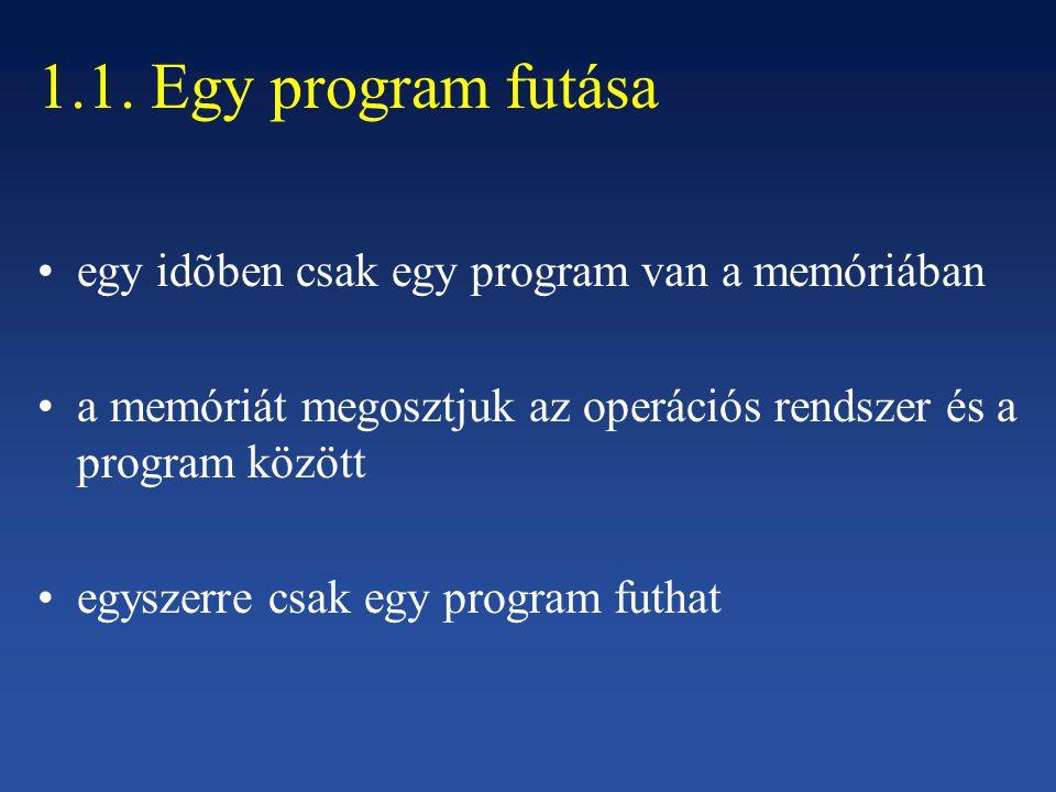 1.1. Egy program futása egy idõben csak egy program van a memóriában a memóriát megosztjuk az operációs rendszer és a program között egyszerre csak eg