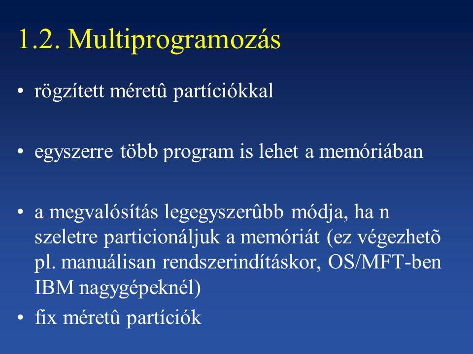 1.2. Multiprogramozás rögzített méretû partíciókkal egyszerre több program is lehet a memóriában a megvalósítás legegyszerûbb módja, ha n szeletre par