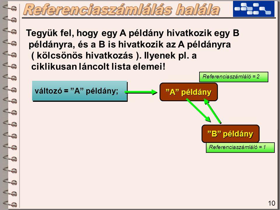 10 Tegyük fel, hogy egy A példány hivatkozik egy B példányra, és a B is hivatkozik az A példányra ( kölcsönös hivatkozás ). Ilyenek pl. a ciklikusan l