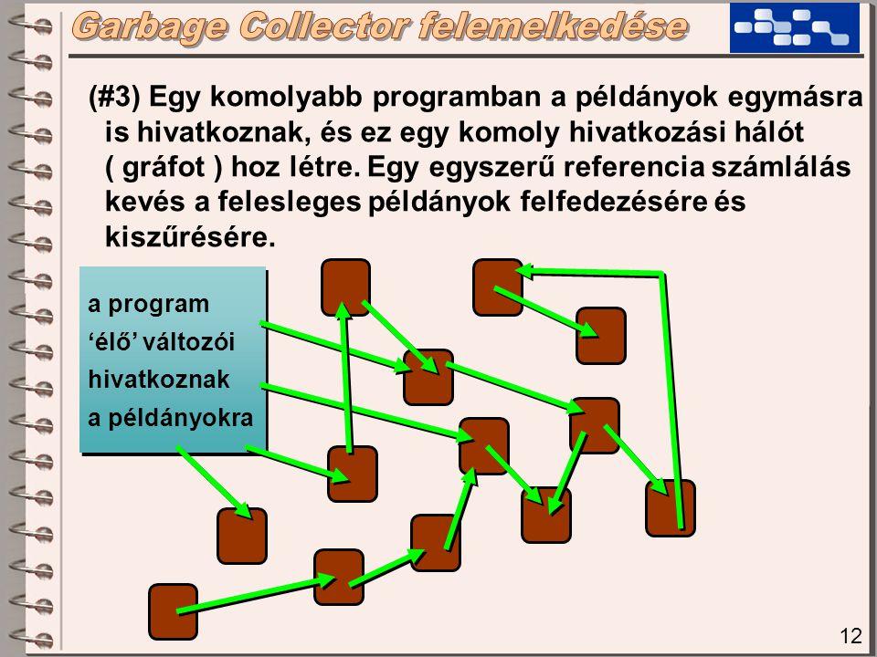 12 (#3) Egy komolyabb programban a példányok egymásra is hivatkoznak, és ez egy komoly hivatkozási hálót ( gráfot ) hoz létre. Egy egyszerű referencia