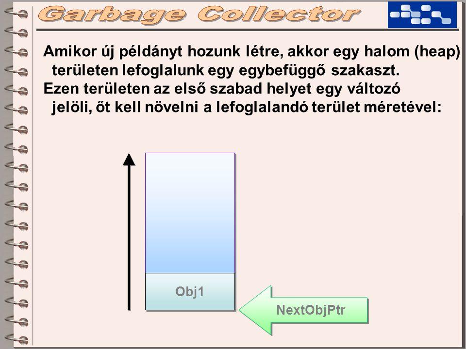 Obj1 NextObjPtr Amikor új példányt hozunk létre, akkor egy halom (heap) területen lefoglalunk egy egybefüggő szakaszt. Ezen területen az első szabad h