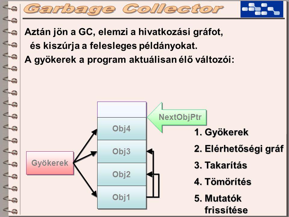 Gyökerek Aztán jön a GC, elemzi a hivatkozási gráfot, és kiszúrja a felesleges példányokat. A gyökerek a program aktuálisan élő változói: NextObjPtr O