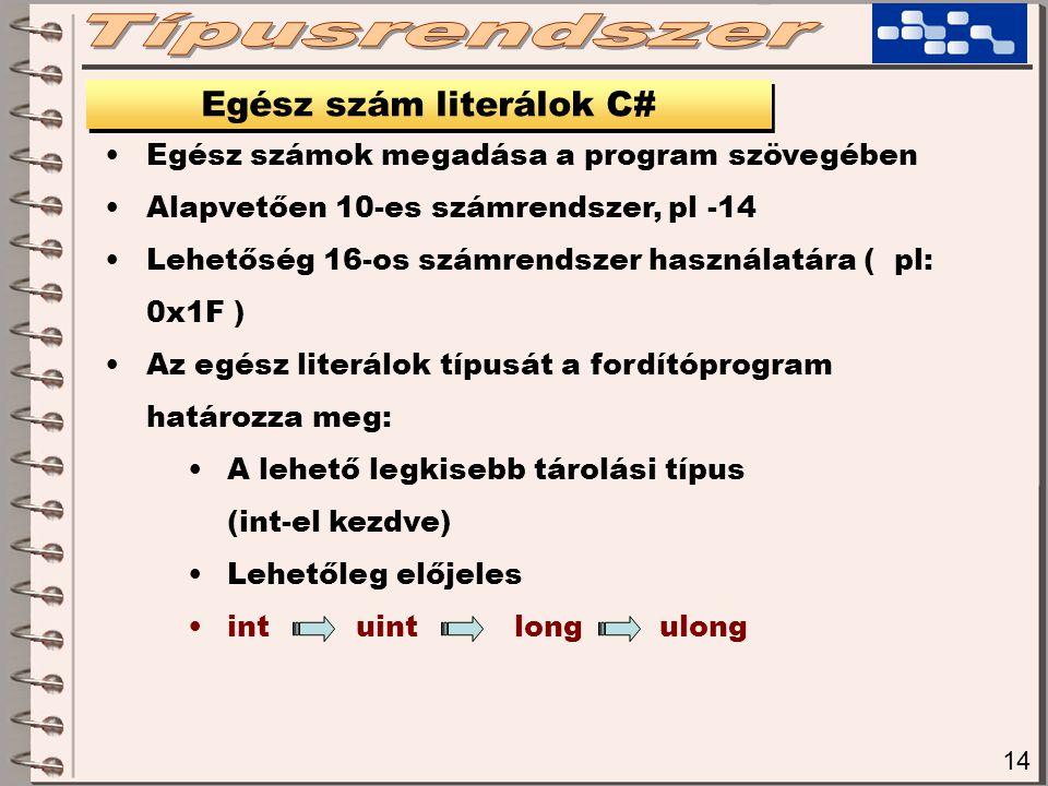 14 Egész szám literálok C# Egész számok megadása a program szövegében Alapvetően 10-es számrendszer, pl -14 Lehetőség 16-os számrendszer használatára