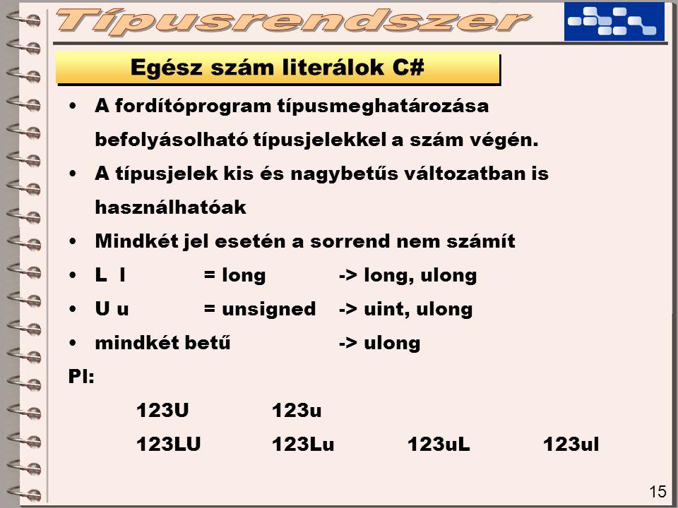 15 Egész szám literálok C# A fordítóprogram típusmeghatározása befolyásolható típusjelekkel a szám végén. A típusjelek kis és nagybetűs változatban is