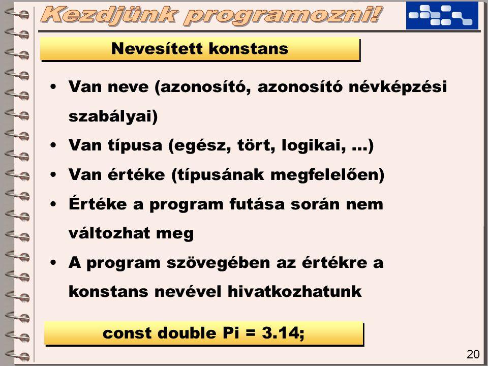 20 Nevesített konstans Van neve (azonosító, azonosító névképzési szabályai) Van típusa (egész, tört, logikai, …) Van értéke (típusának megfelelően) Ér