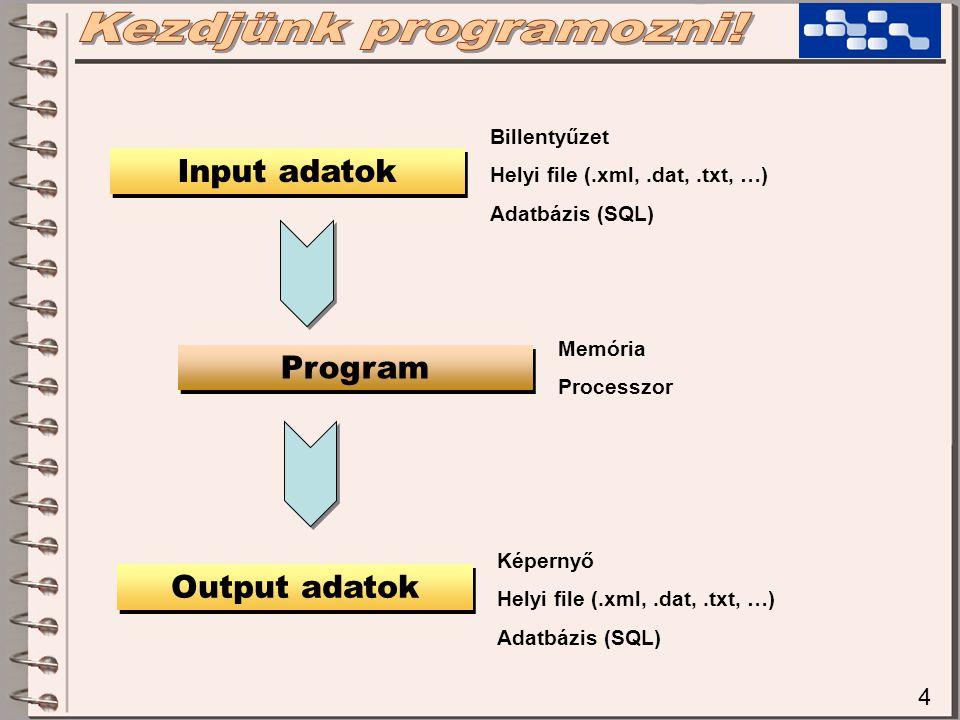 4 Program Input adatok Output adatok Billentyűzet Helyi file (.xml,.dat,.txt, …) Adatbázis (SQL) Memória Processzor Képernyő Helyi file (.xml,.dat,.tx