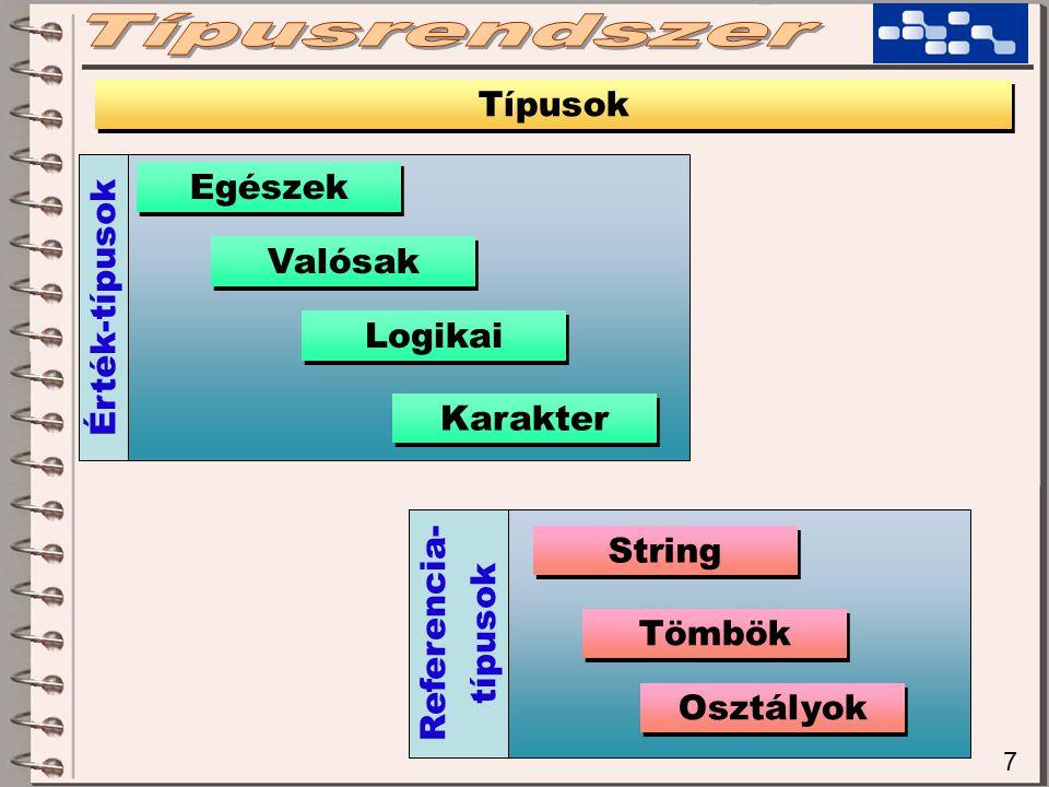 7 Típusok Egészek Valósak Karakter Logikai String Tömbök Osztályok Érték-típusok Referencia- típusok