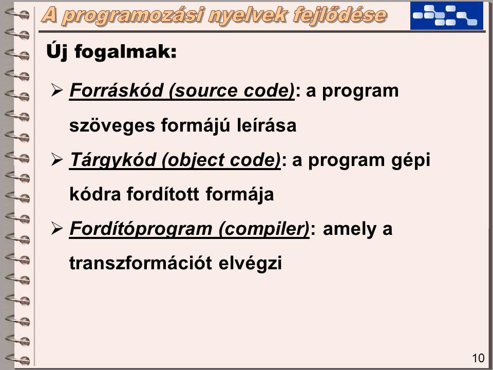 11 Új fogalmak:  Fordítás (compiling): a folyamat, melynek során a fordító program a forráskódból előállítja a tárgykódot  De-compiler: a tárgykódból visszaállítja a forráskódot (veszteséges)