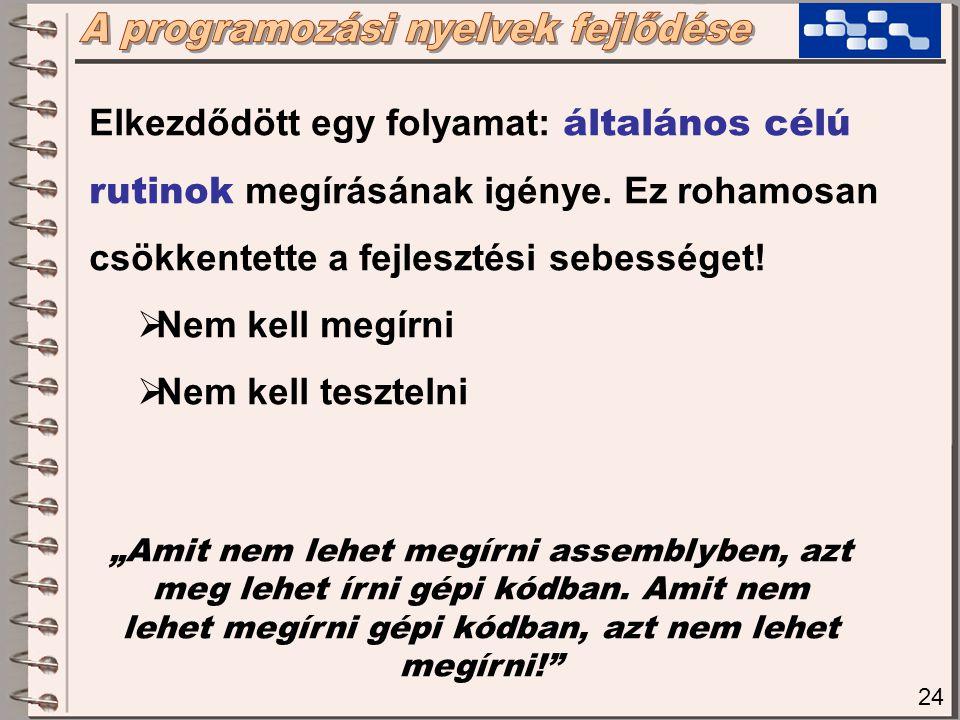 25 3.gen: Eljárásorientált nyelvek Elvi, szemléletbeli váltás történt .