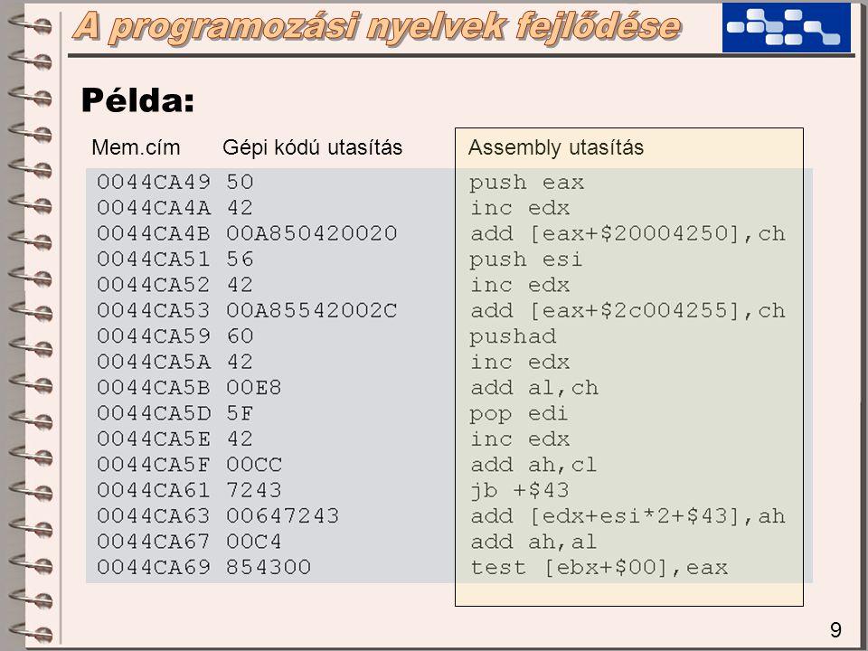 10 Új fogalmak:  Forráskód (source code): a program szöveges formájú leírása  Tárgykód (object code): a program gépi kódra fordított formája  Fordítóprogram (compiler): amely a transzformációt elvégzi