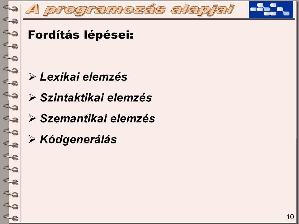 10 Fordítás lépései:  Lexikai elemzés  Szintaktikai elemzés  Szemantikai elemzés  Kódgenerálás
