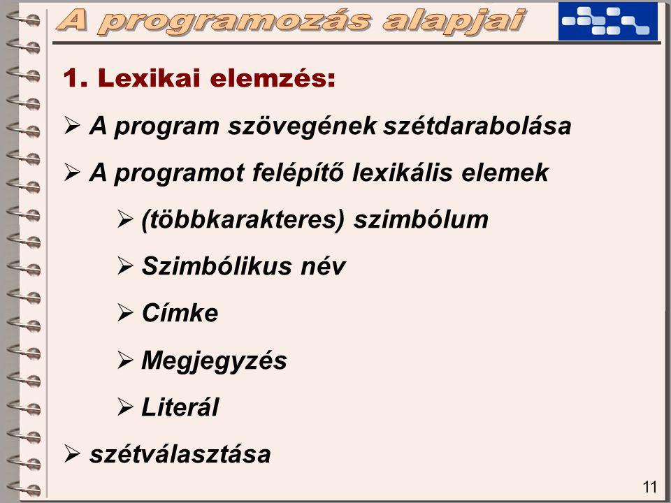 11 1. Lexikai elemzés:  A program szövegének szétdarabolása  A programot felépítő lexikális elemek  (többkarakteres) szimbólum  Szimbólikus név 