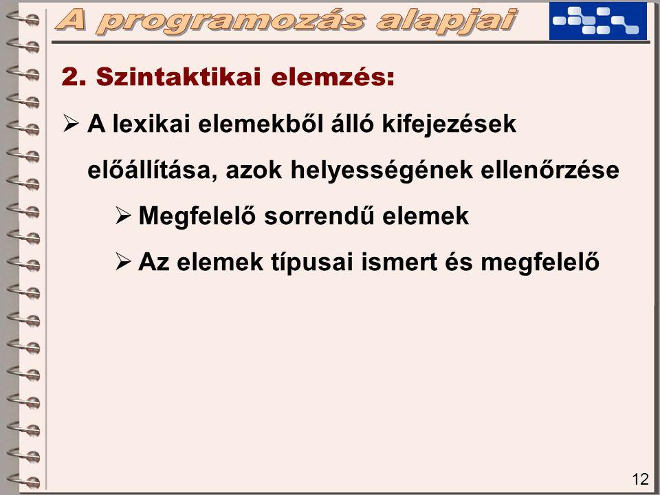 12 2. Szintaktikai elemzés:  A lexikai elemekből álló kifejezések előállítása, azok helyességének ellenőrzése  Megfelelő sorrendű elemek  Az elemek