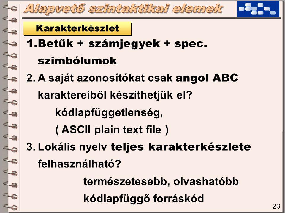 23 Karakterkészlet 1.Betűk + számjegyek + spec. szimbólumok 2.A saját azonosítókat csak angol ABC karaktereiből készíthetjük el? kódlapfüggetlenség, (