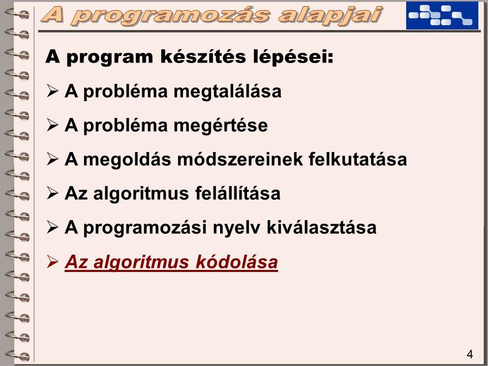 4 A program készítés lépései:  A probléma megtalálása  A probléma megértése  A megoldás módszereinek felkutatása  Az algoritmus felállítása  A programozási nyelv kiválasztása  Az algoritmus kódolása
