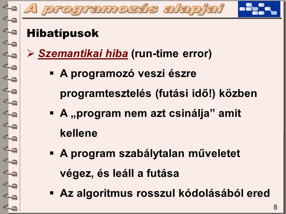"""8 Hibatípusok  Szemantikai hiba (run-time error)  A programozó veszi észre programtesztelés (futási idő!) közben  A """"program nem azt csinálja amit kellene  A program szabálytalan műveletet végez, és leáll a futása  Az algoritmus rosszul kódolásából ered"""