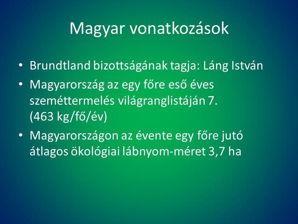 Magyar vonatkozások Brundtland bizottságának tagja: Láng István Magyarország az egy főre eső éves szeméttermelés világranglistáján 7. (463 kg/fő/év) M