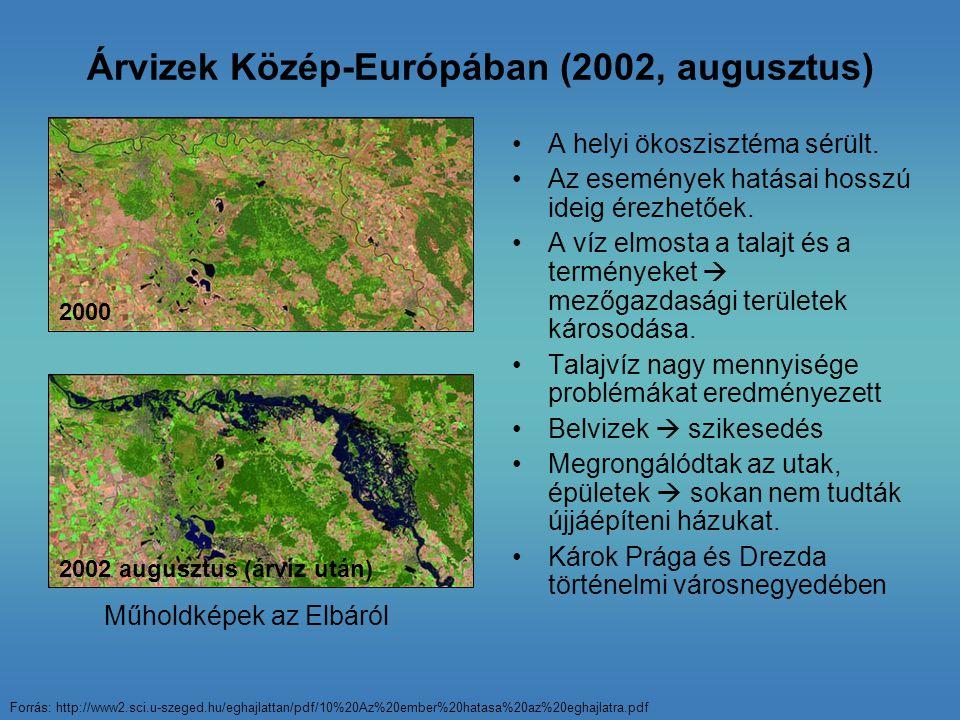 Árvizek Közép-Európában (2002, augusztus) A helyi ökoszisztéma sérült. Az események hatásai hosszú ideig érezhetőek. A víz elmosta a talajt és a termé