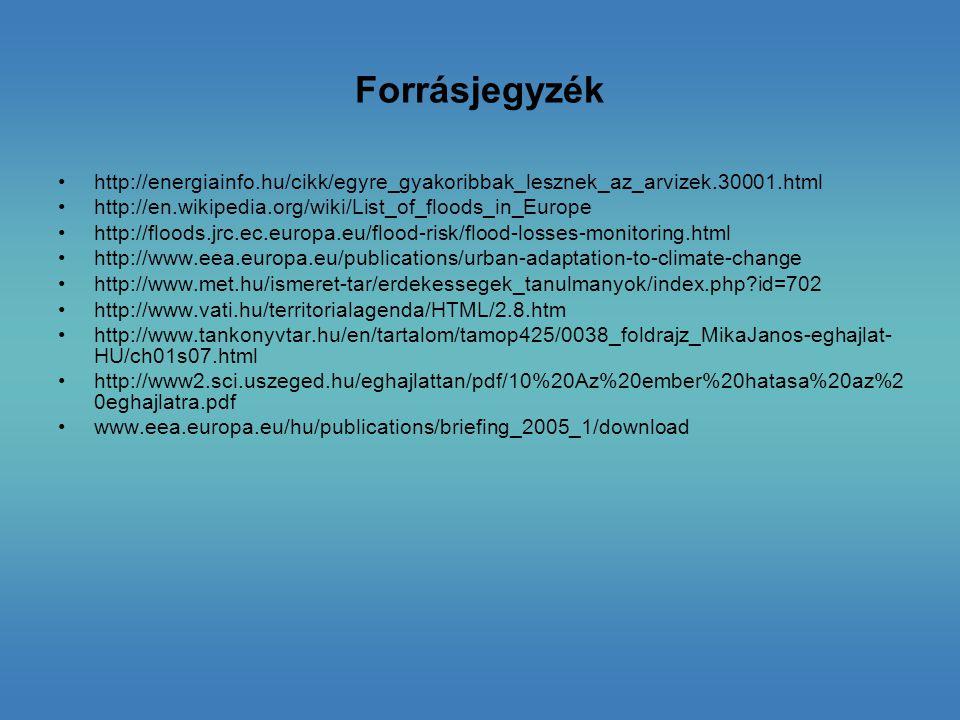 Forrásjegyzék http://energiainfo.hu/cikk/egyre_gyakoribbak_lesznek_az_arvizek.30001.html http://en.wikipedia.org/wiki/List_of_floods_in_Europe http://