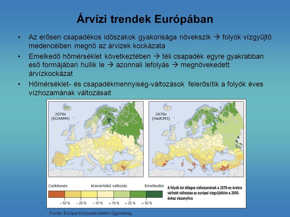 Árvízi trendek Európában Az erősen csapadékos időszakok gyakorisága növekszik  folyók vízgyűjtő medencéiben megnő az árvizek kockázata Emelkedő hőmér
