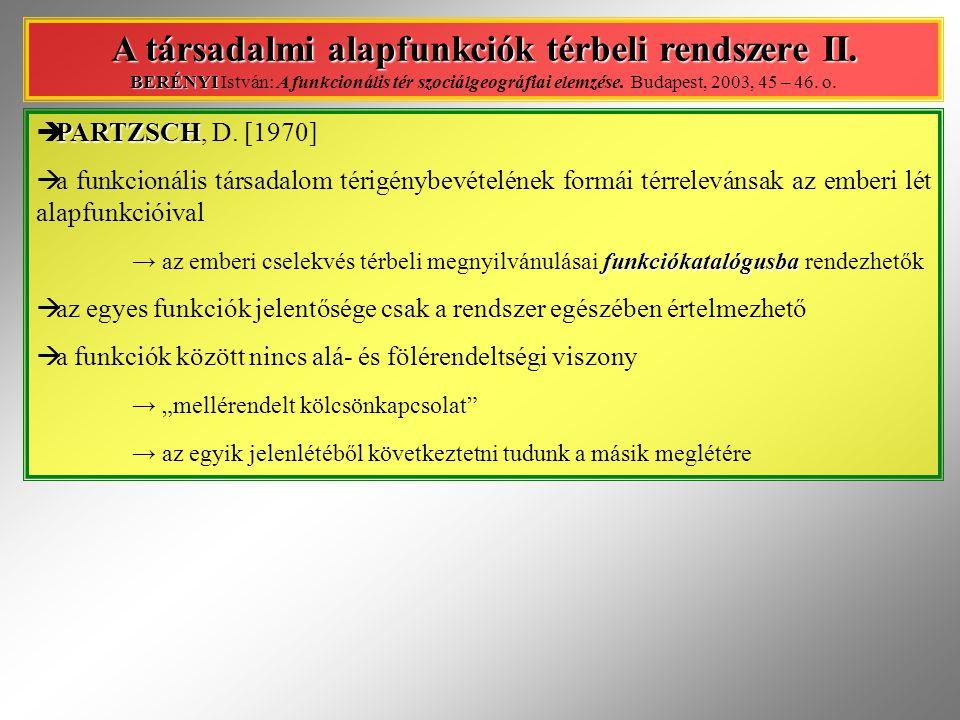 PARTZSCH  PARTZSCH, D. [1970]  a funkcionális társadalom térigénybevételének formái térrelevánsak az emberi lét alapfunkcióival funkciókatalógusba →