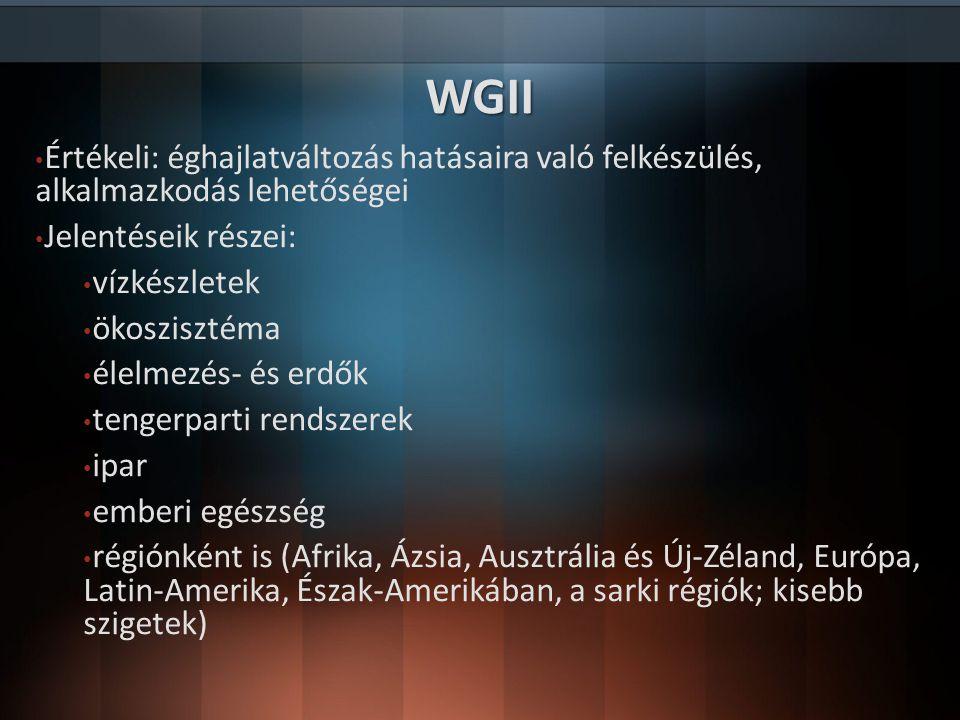 WGII Értékeli: éghajlatváltozás hatásaira való felkészülés, alkalmazkodás lehetőségei Jelentéseik részei: vízkészletek ökoszisztéma élelmezés- és erdő