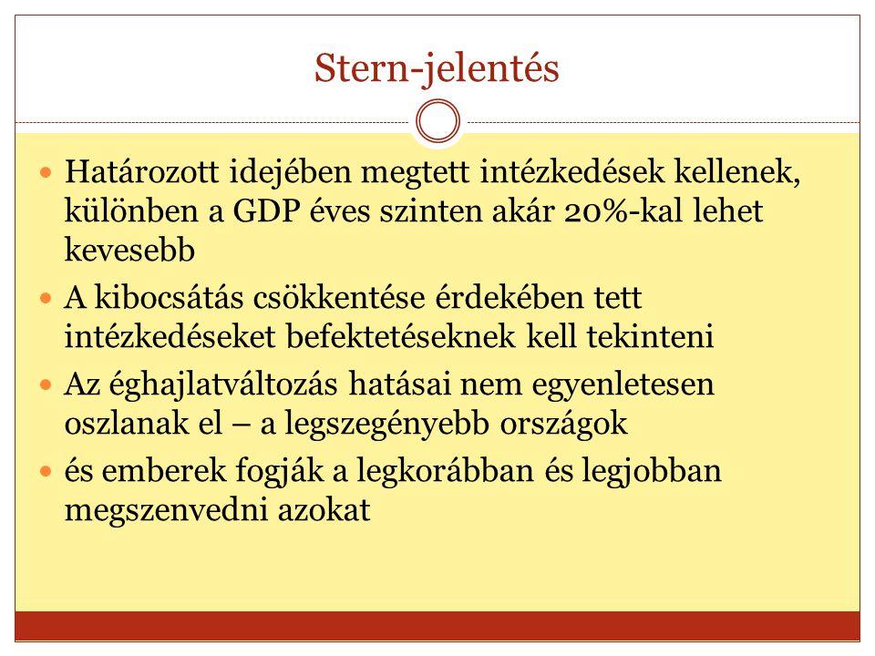 Stern-jelentés Határozott idejében megtett intézkedések kellenek, különben a GDP éves szinten akár 20%-kal lehet kevesebb A kibocsátás csökkentése érdekében tett intézkedéseket befektetéseknek kell tekinteni Az éghajlatváltozás hatásai nem egyenletesen oszlanak el – a legszegényebb országok és emberek fogják a legkorábban és legjobban megszenvedni azokat