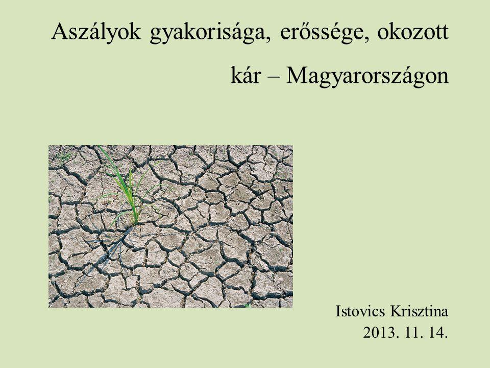 Aszályok gyakorisága, erőssége, okozott kár – Magyarországon Istovics Krisztina 2013. 11. 14.