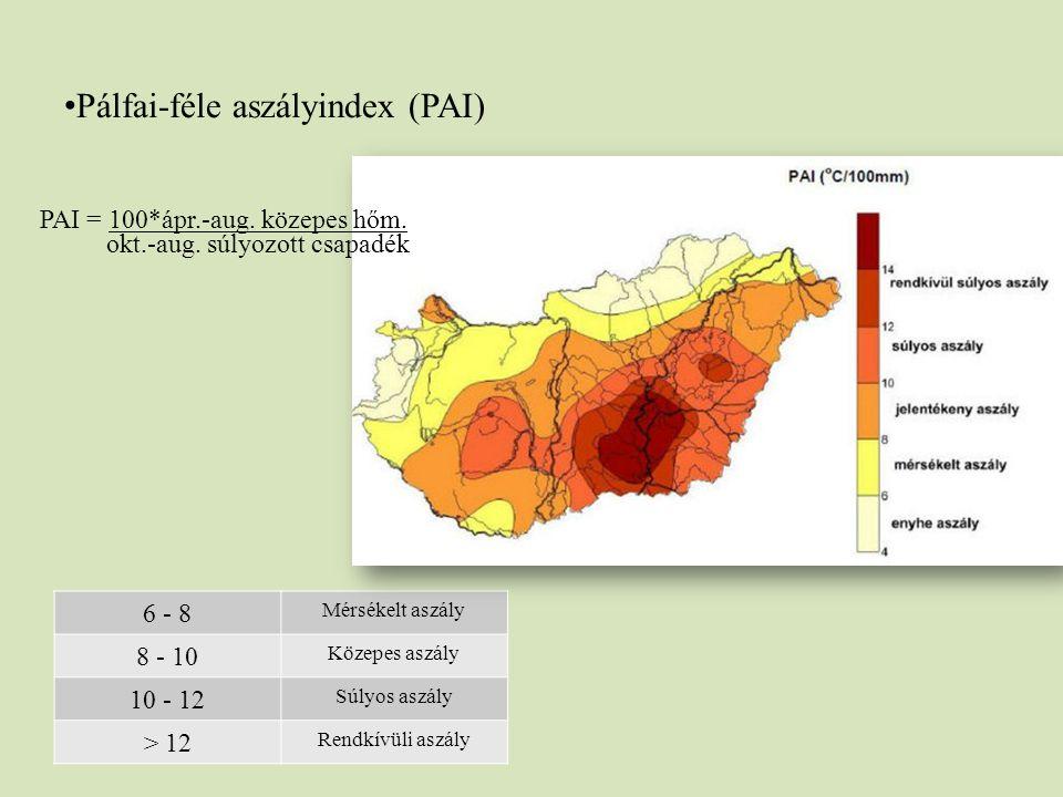 Pálfai-féle aszályindex (PAI) 6 - 8 Mérsékelt aszály 8 - 10 Közepes aszály 10 - 12 Súlyos aszály > 12 Rendkívüli aszály PAI = 100*ápr.-aug. közepes hő