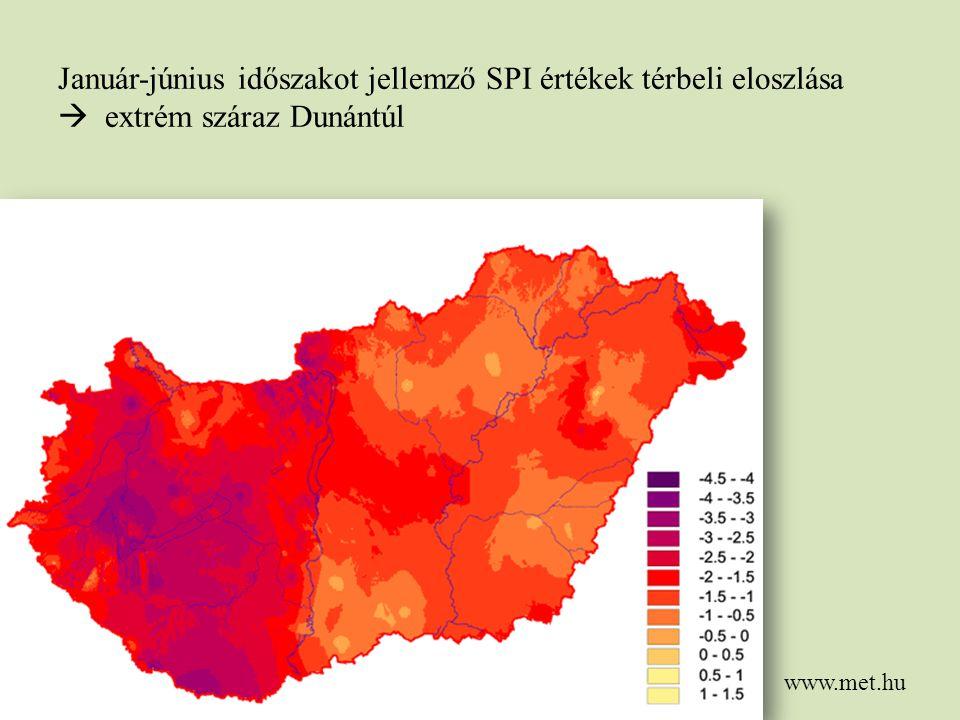 Január-június időszakot jellemző SPI értékek térbeli eloszlása  extrém száraz Dunántúl www.met.hu
