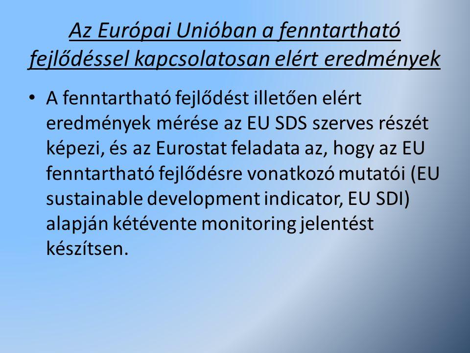 Az Európai Unióban a fenntartható fejlődéssel kapcsolatosan elért eredmények A fenntartható fejlődést illetően elért eredmények mérése az EU SDS szerv