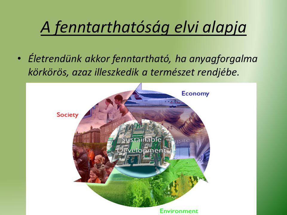 A fenntarthatóság elvi alapja Életrendünk akkor fenntartható, ha anyagforgalma körkörös, azaz illeszkedik a természet rendjébe.