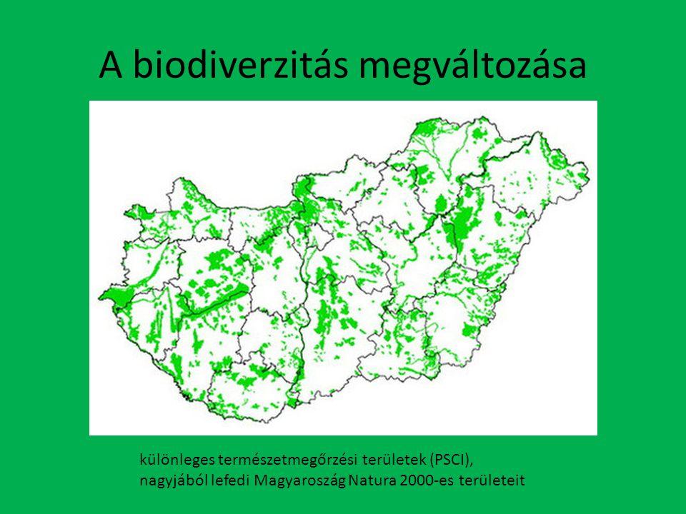 A biodiverzitás megváltozása különleges természetmegőrzési területek (PSCI), nagyjából lefedi Magyaroszág Natura 2000-es területeit