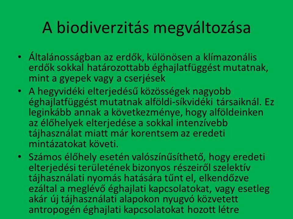 A biodiverzitás megváltozása Általánosságban az erdők, különösen a klímazonális erdők sokkal határozottabb éghajlatfüggést mutatnak, mint a gyepek vagy a cserjések A hegyvidéki elterjedésű közösségek nagyobb éghajlatfüggést mutatnak alföldi-síkvidéki társaiknál.