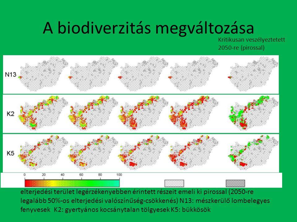 A biodiverzitás megváltozása Kritikusan veszélyeztetett 2050-re (pirossal) elterjedési terület legérzékenyebben érintett részeit emeli ki pirossal (2050-re legalább 50%-os elterjedési valószínűség-csökkenés) N13: mészkerülő lombelegyes fenyvesek K2: gyertyános kocsánytalan tölgyesek K5: bükkösök