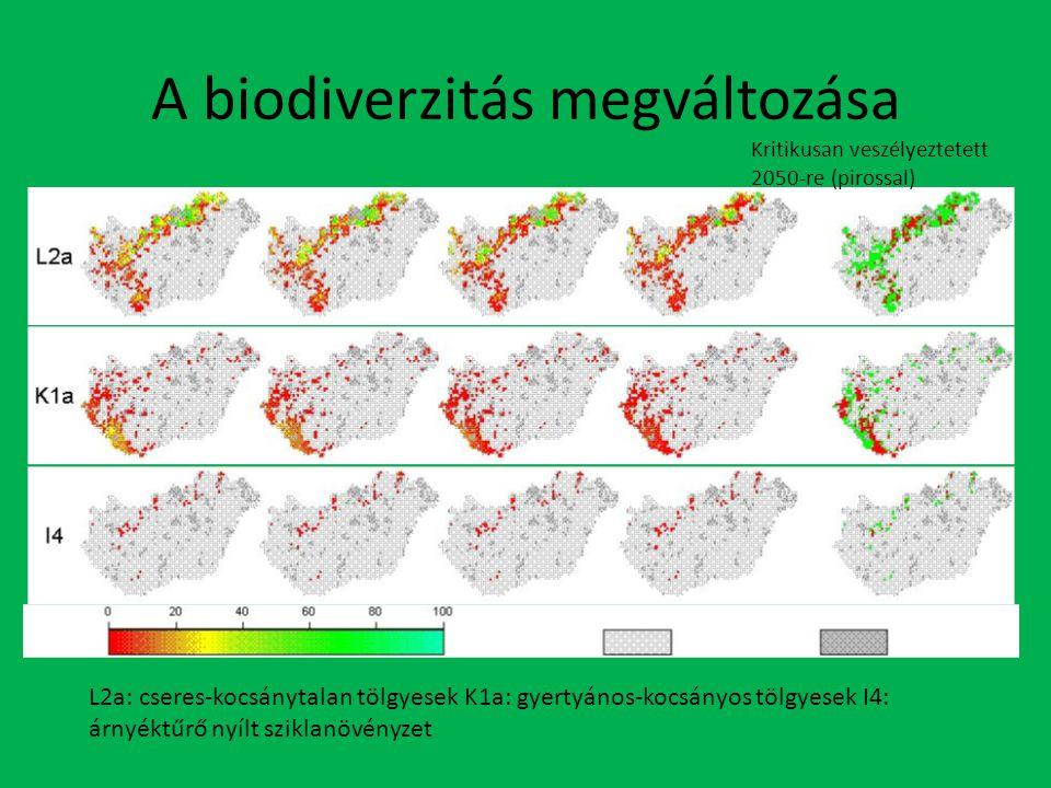 A biodiverzitás megváltozása Kritikusan veszélyeztetett 2050-re (pirossal) L2a: cseres-kocsánytalan tölgyesek K1a: gyertyános-kocsányos tölgyesek I4: árnyéktűrő nyílt sziklanövényzet
