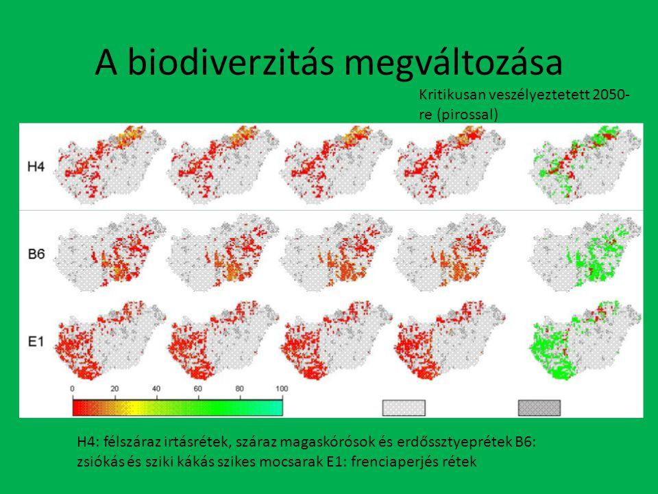 A biodiverzitás megváltozása Kritikusan veszélyeztetett 2050- re (pirossal) H4: félszáraz irtásrétek, száraz magaskórósok és erdőssztyeprétek B6: zsiókás és sziki kákás szikes mocsarak E1: frenciaperjés rétek