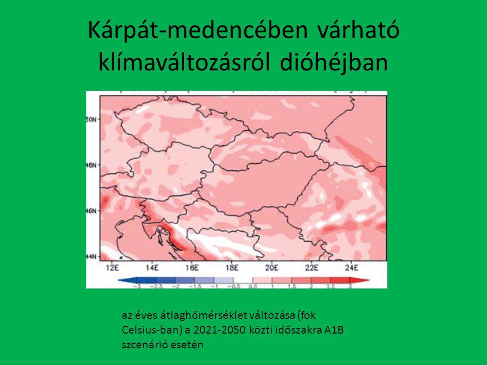 Kárpát-medencében várható klímaváltozásról dióhéjban az éves átlaghőmérséklet változása (fok Celsius-ban) a 2021-2050 közti időszakra A1B szcenárió esetén