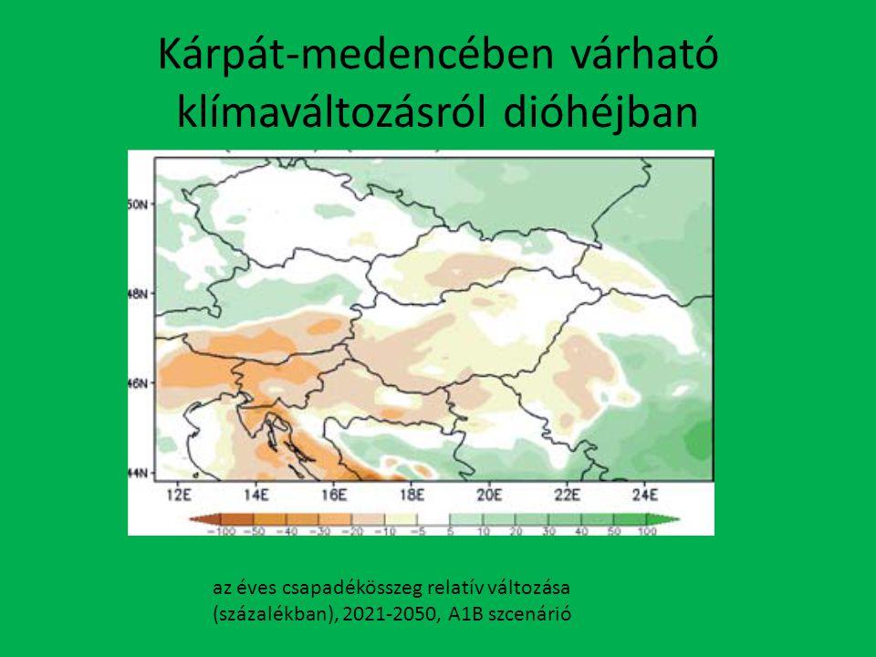 Kárpát-medencében várható klímaváltozásról dióhéjban az éves csapadékösszeg relatív változása (százalékban), 2021-2050, A1B szcenárió