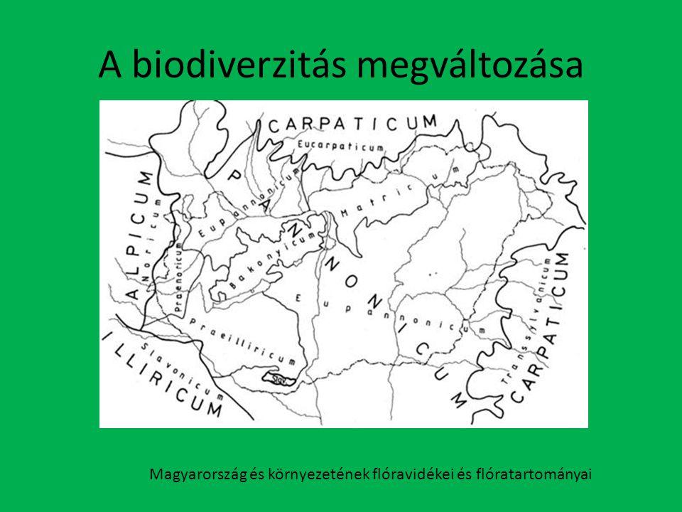 A biodiverzitás megváltozása Magyarország és környezetének flóravidékei és flóratartományai