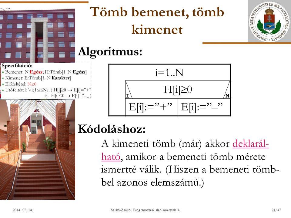ELTE Tömb bemenet, tömb kimenet Algoritmus: Kódoláshoz: A kimeneti tömb (már) akkor deklarál- ható, amikor a bemeneti tömb mérete ismertté válik.