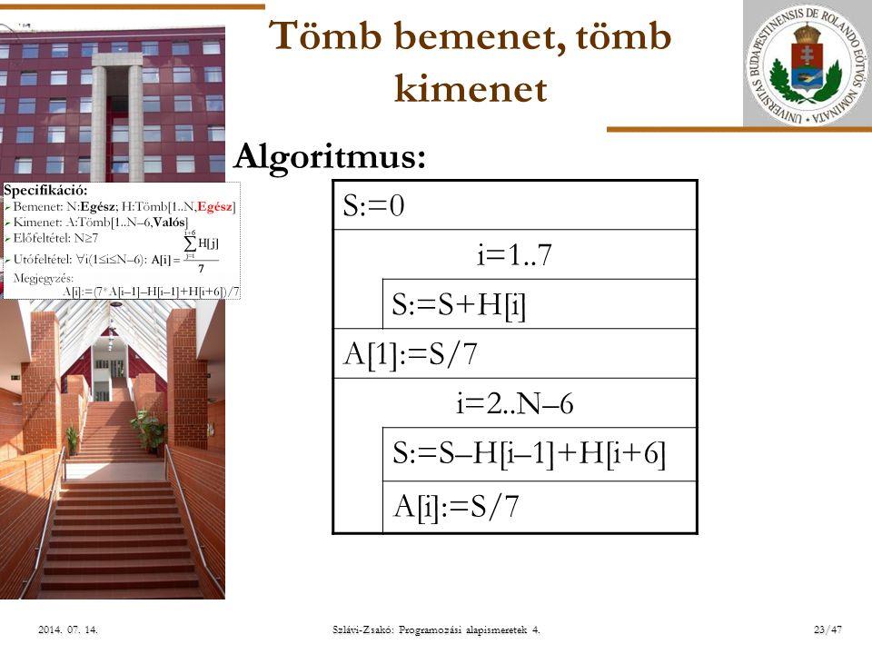 ELTE Tömb bemenet, tömb kimenet S:=0 i=1..7 S:=S+H[i] A[1]:=S/7 i=2..N –6 S:=S–H[i–1]+H[i+6] A[i]:=S/7 Algoritmus: Szlávi-Zsakó: Programozási alapismeretek 4.